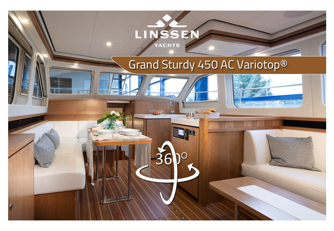 360 degree panorama of Linssen Grand Sturdy 450 AC Variotop