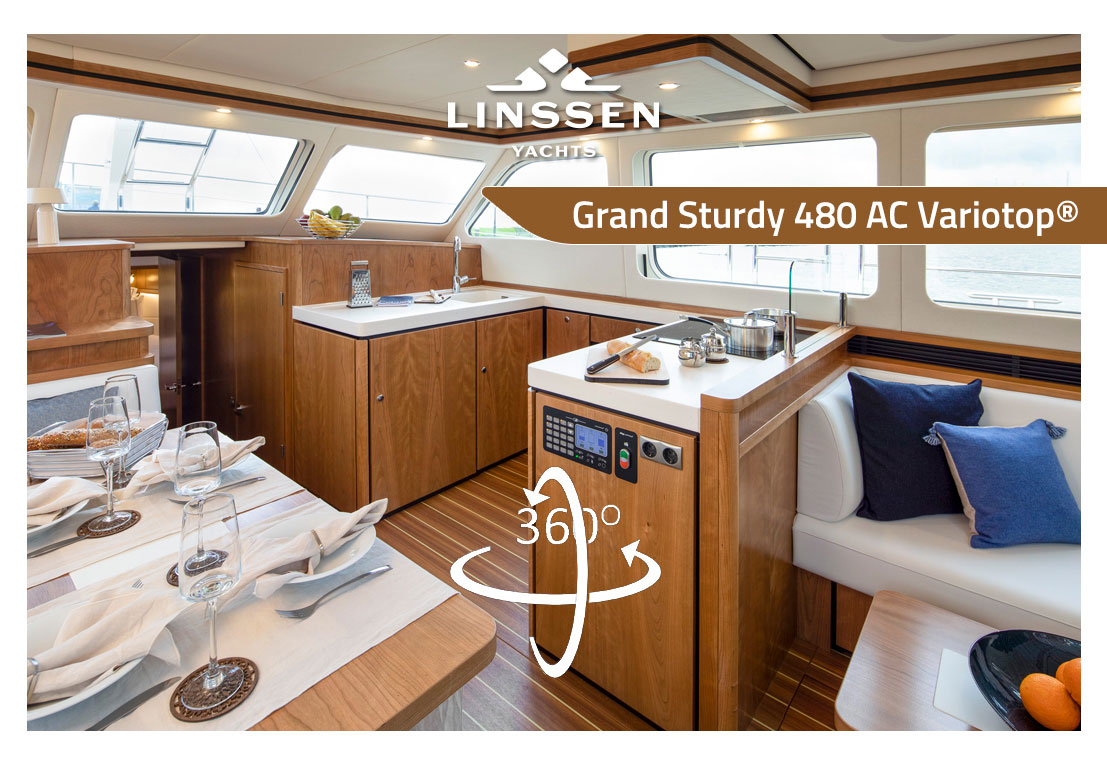 360 degree panorama of Linssen Grand Sturdy 480 AC Variotop