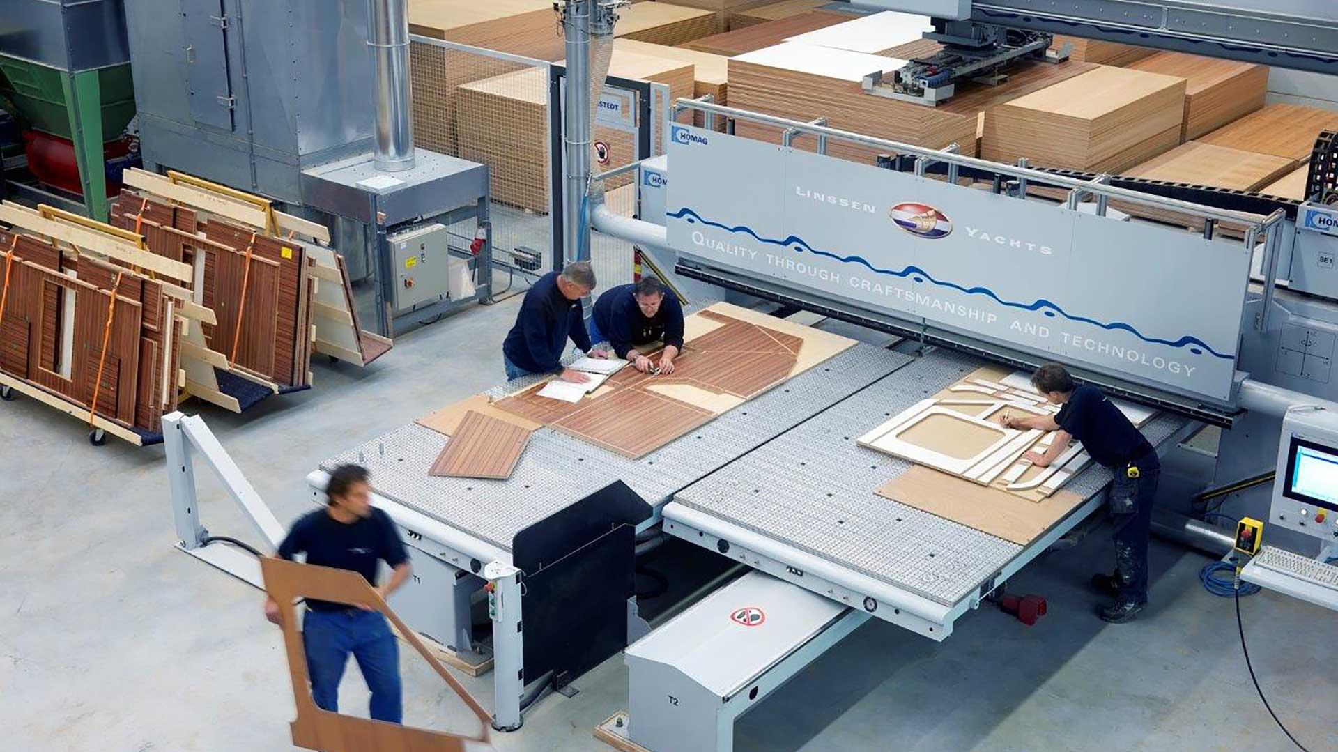 Linssen yachts high tech furniture factory
