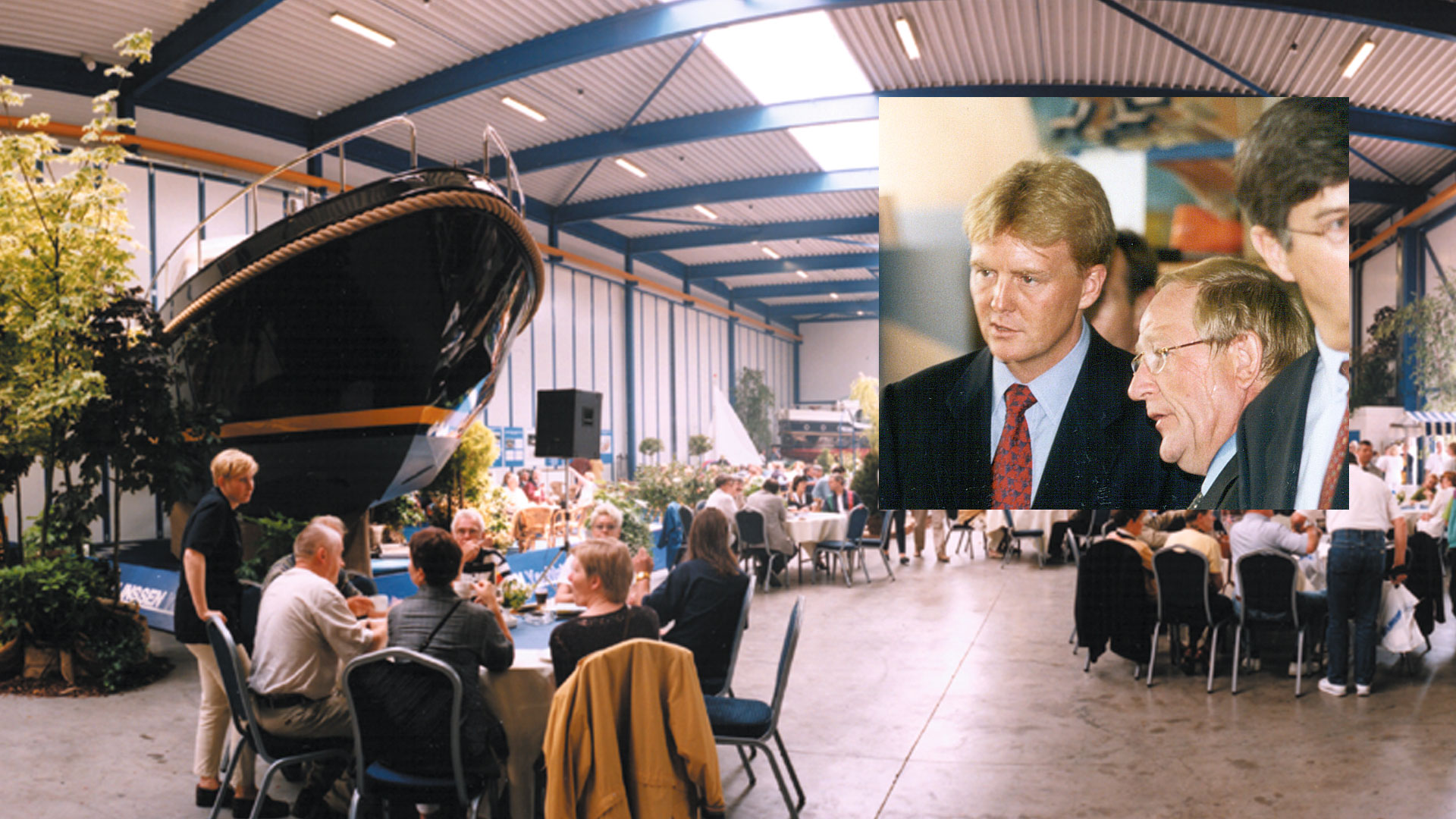 H.R.H. Crown Prince Willem-Alexander talks to Jos Linssen on his visit to Linssen Yachts