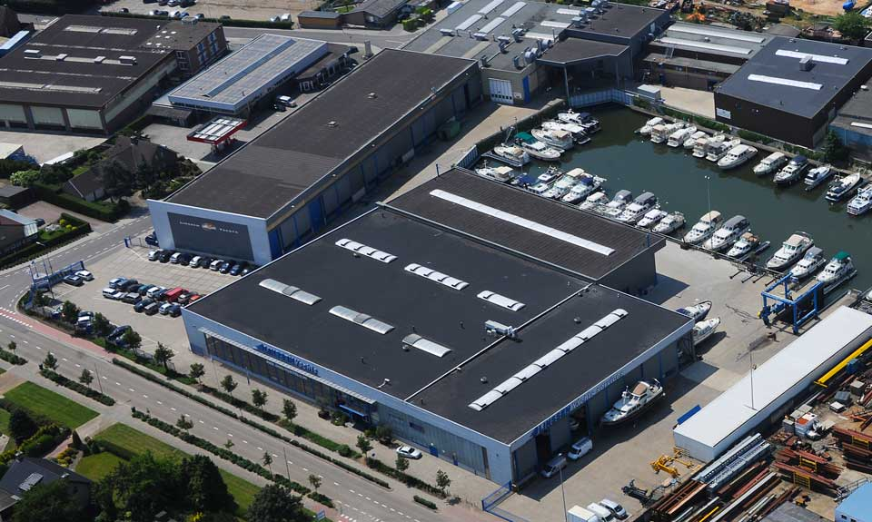 Linssen Yachts in-house production - aerial view of the Linssen shipyard in Maasbracht